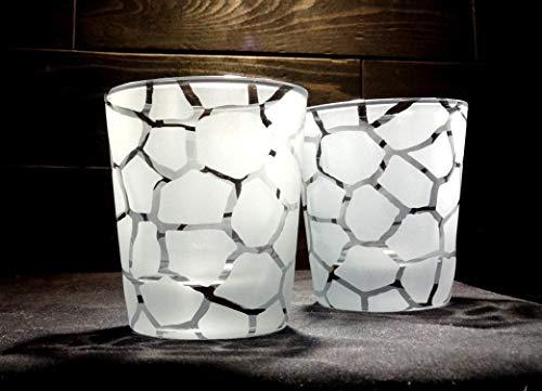 Giraffe Print Etched Rocks Glasses Set of 2