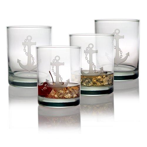 Susquehanna Glass Nautical Anchor Sand Etched Rocks Glasses Set of 4 14 oz by Susquehanna Glass