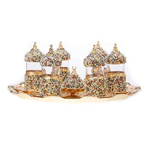 Alisveristime Set of 6 Turkish Tea Glasses Set Saucers Holders Swarovski Crystal Set Mix Color