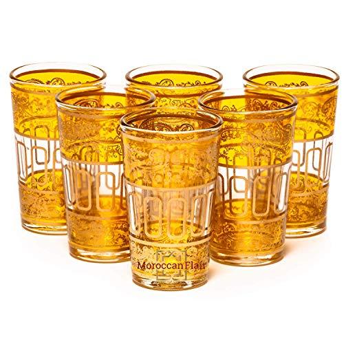 Mini Bellar Moroccan tea glasses - Set of 6-3 each Yellow