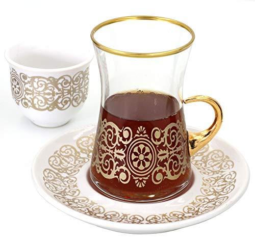 Sarmasik Turkish Tea Glasses with Saucers and Turkish Mirra Coffee Sets Set of 6 5 OZ