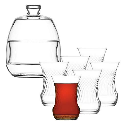 Turkish Tea Set 13 Piece Premium Turkish Tea Set 6PCs Clear Glass Tea Cups 6PCs Glass Saucers and Stylish Glass Sugar Bowl