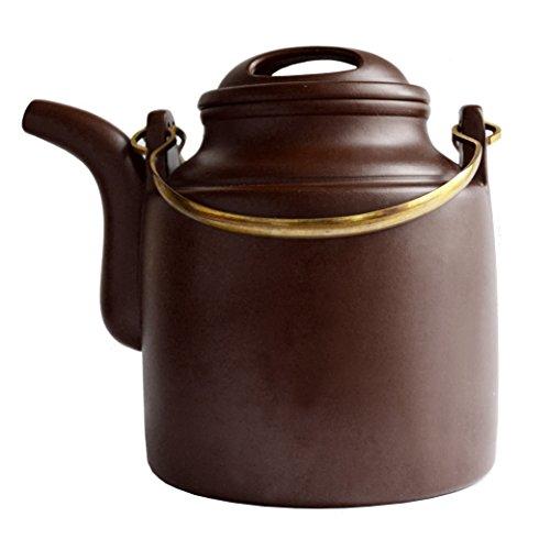 Yixing Teapot 22oz650ml Yangtong Brown Zisha Barrel Copper girder