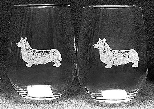 Muddy Creek Reflection Pembroke Corgi Dog Laser Etched White Wine Juice Glass Set 2 SWW