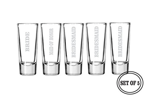 5 ENGRAVED SHOT GLASSES Bridesmaid Favors Gifts Wedding Party Engraved Beer Glasses Bridesmaids Maid of Honor Gift Etched Shot Glass