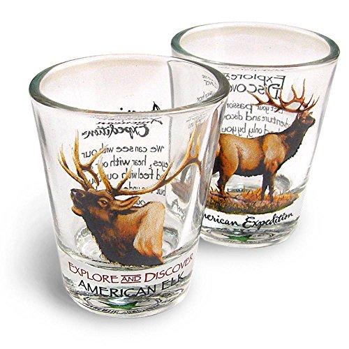 American Expedition Set of 2 Shot Glasses American Elk