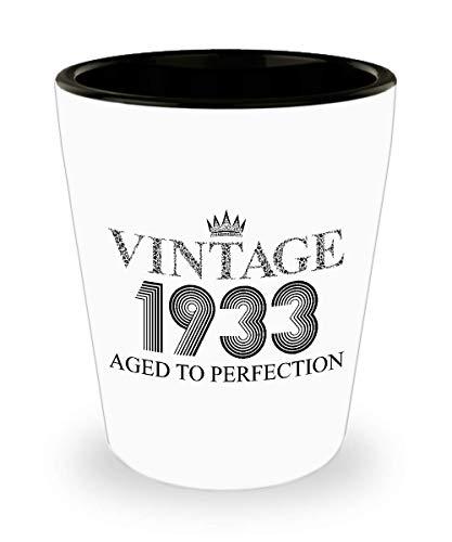 1933 Vintage Shot Glass - 86th Birthday White Mini Cup Ceramic - 86 Years Old 15oz Shot Glasses Gift Idea For Women Men