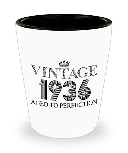 1936 Vintage Shot Glass - 83rd Birthday White Mini Cup Ceramic - 83 Years Old 15oz Shot Glasses Gift Idea For Women Men