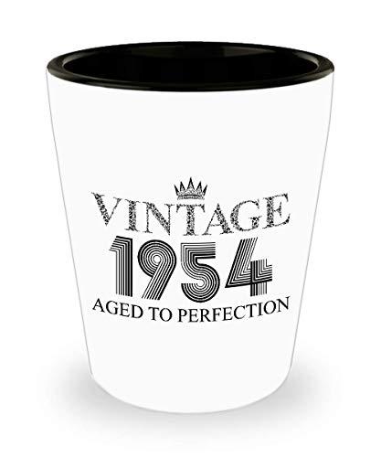 1954 Vintage Shot Glass - 65th Birthday White Mini Cup Ceramic - 65 Years Old 15oz Shot Glasses Gift Idea For Women Men