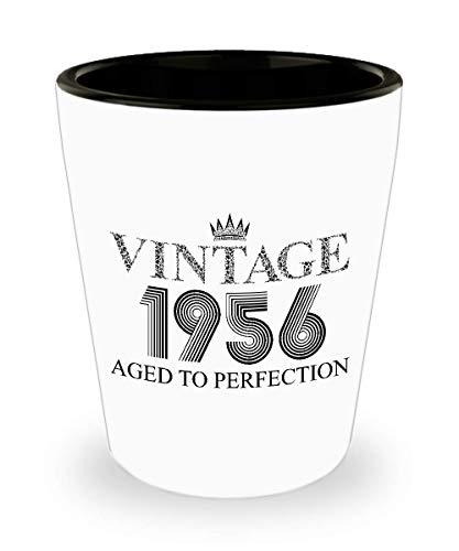 1956 Vintage Shot Glass - 63rd Birthday White Mini Cup Ceramic - 63 Years Old 15oz Shot Glasses Gift Idea For Women Men