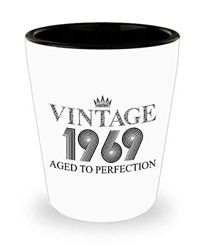 1969 Vintage Shot Glass - 50th Birthday White Mini Cup Ceramic - 50 Years Old 15oz Shot Glasses Gift Idea For Women Men