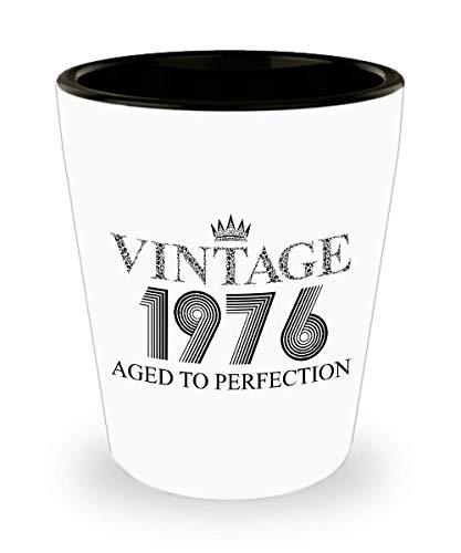 1976 Vintage Shot Glass - 43rd Birthday White Mini Cup Ceramic - 43 Years Old 15oz Shot Glasses Gift Idea For Women Men