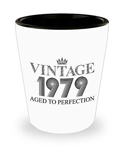 1979 Vintage Shot Glass - 40th Birthday White Mini Cup Ceramic - 40 Years Old 15oz Shot Glasses Gift Idea For Women Men