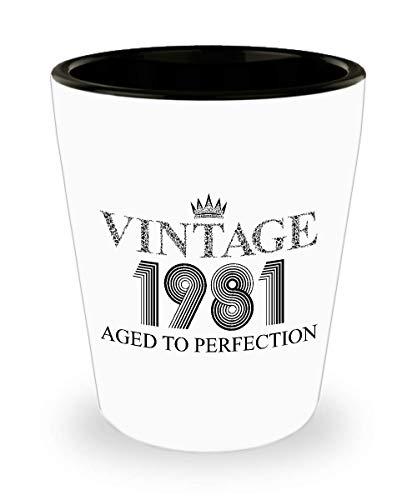 1981 Vintage Shot Glass - 38th Birthday White Mini Cup Ceramic - 38 Years Old 15oz Shot Glasses Gift Idea For Women Men