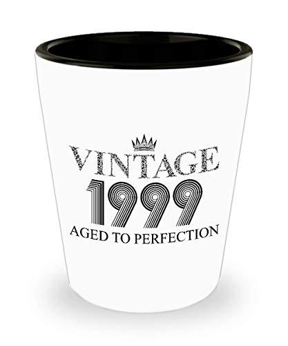 1999 Vintage Shot Glass - 20th Birthday White Mini Cup Ceramic - 20 Years Old 15oz Shot Glasses Gift Idea For Women Men