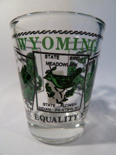 Wyoming State Scenery Green Shot Glass