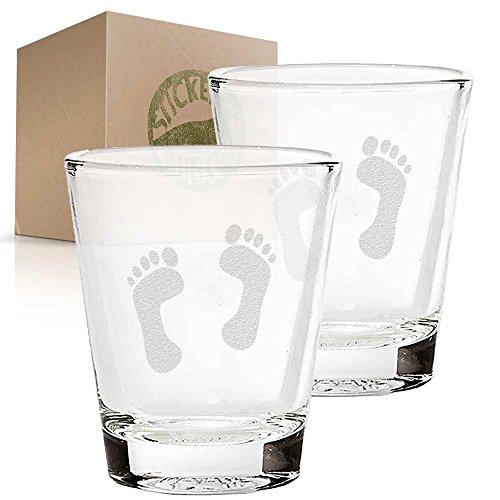 Human Tracks Footprints etched glass shot glass set of two etch shot glasses for bar