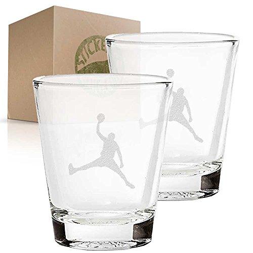 Jordan Dunk Basketball Player etched glass shot glass set of two etch shot glasses for bar