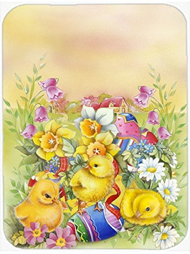 Carolines Treasures Easter Chicks and Eggs Glass Cutting Board Large Multicolor
