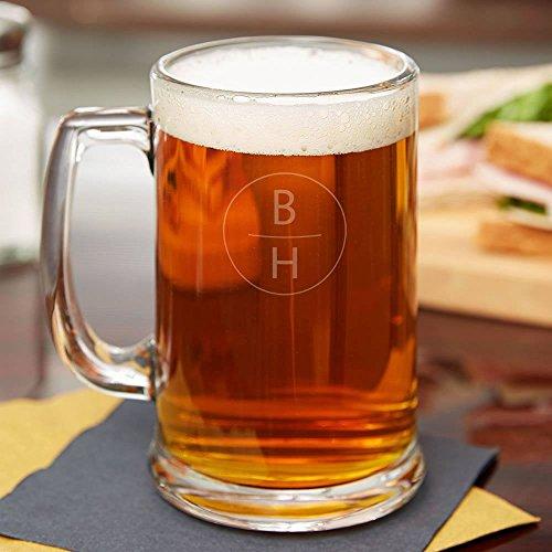 Vertical Monogram Personalized Beer Mug - Set of 4 - Laser Engraved  BBQ Fans