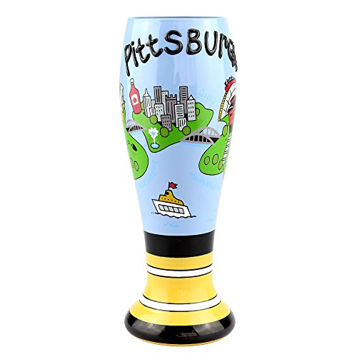 Top Shelf Decorative Pittsburgh Tall Hand Painted Pilsner Beer Glass  Unique Gifts for Friends and Family  Novelty Gift Ideas for Birthdays Christmas or Any Special Occasion