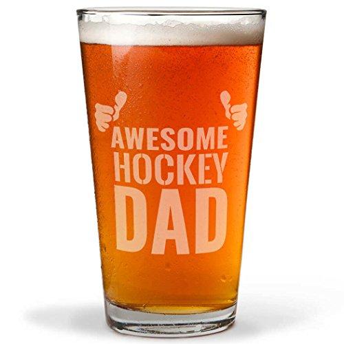 Best Hockey Dad Ever Engraved Beer Pint Glass By ChalkTalk SPORTS  20 oz