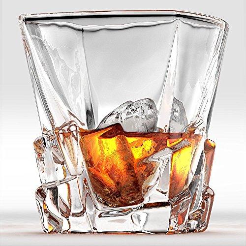 Ashcroft Set of 2 Unique Whiskey Glasses - Iceberg Collection - Scotch Liquor or Bourbon Tumblers Ultra-Clarity Glassware Elegant and Dishwasher Safe