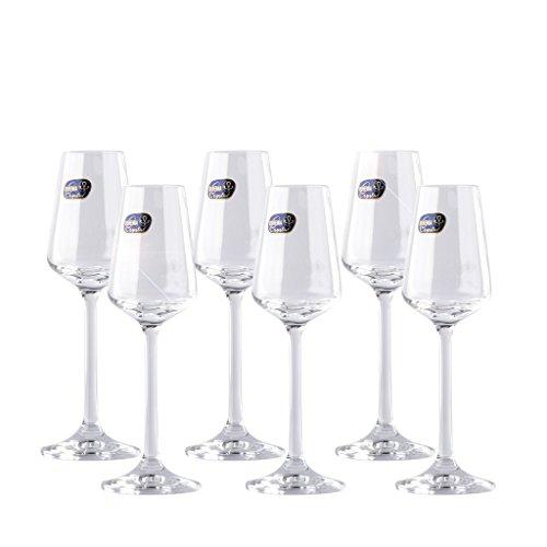 Crystal Decor Sandra Liquor Glasses Collection Set of 6 glass l 21oz  65ml