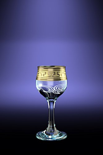 Crystal Goose GX-01-164 2 Oz Sherry Liquor Glasses with Greek Key Gold-Plated Trim Old-Fashioned Cordial Liquor Gilded Glasses with Etched Painting 6-Piece Set