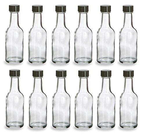 Nakpunar 12 pcs 50 ml Glass Liquor Bottles with Black Cap