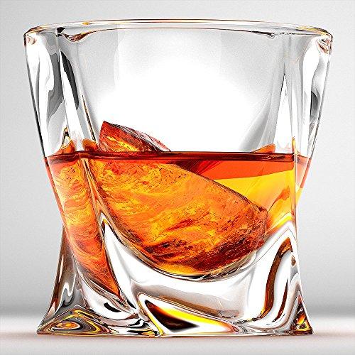 Twist Whiskey Glasses Scotch Glasses By Ashcroft - Set Of 2 Unique Elegant Dishwasher Safe Glass Liquor or Bourbon Tumblers Ultra-Clarity Glassware