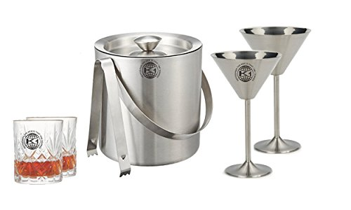 King International 100 Stainless Steel Bar Set  Bar Tools  Bar Accesories Of 6 Pieces Including 1 Ice Bucket  1 Tong And 2 Martini Glasses 2 Arcylic Whisky Glasses