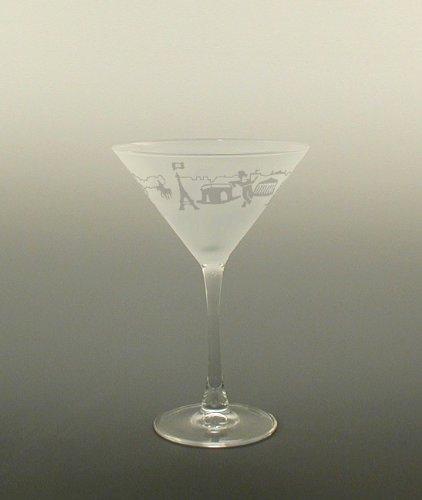 Set of 2 Paris Landmark Etched Martini Cocktail Drinking Glasses - 725 Oz