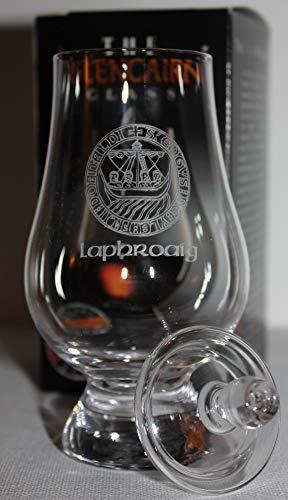 LAPHROAIG ISLAY CREST GLENCAIRN SINGLE MALT SCOTCH WHISKY TASTING GLASS WITH GINGER JAR TOP