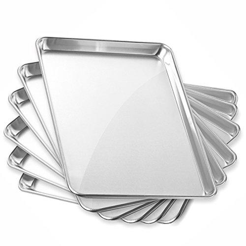 GRIDMANN 13 x 18 Commercial Grade Aluminum Cookie Sheet Baking Tray Jelly Roll Pan Half Sheet - 6 Pans