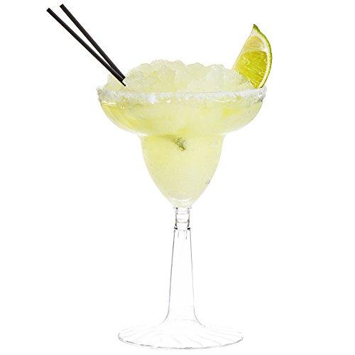 24 Count CLEAR 12 oz Disposable Plastic Margarita Glass Flairware w Signature Party Picks