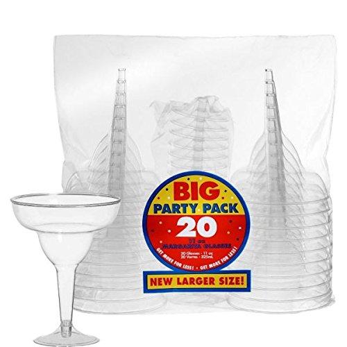Amscan Clear Reusable Plastic Margarita Cocktail Glasses Clear 11 oz