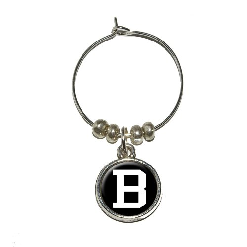 Letter B Initial Black White Wine Glass Charm Drink Stem Marker Ring
