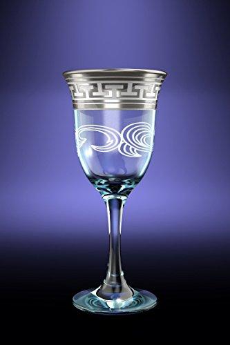 Crystal Goose GX-01-863 8-Ounce Wine Glasses with Platinum Trim Greek Key Platinum-Plated Porto Red White Wine Glasses on Stem 6 Piece Set