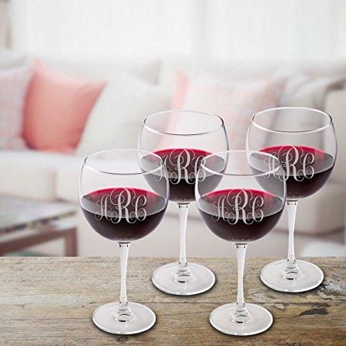 Personalized Red Wine Glass Set of 4 - Interlocking Monogram