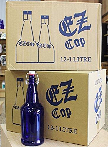 32 oz EZ Cap Cobalt Blue Glass Beer Bottles-2PK
