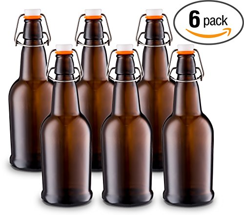 Home Brewing Glass Beer Bottle with Easy Wire Swing Cap Airtight Rubber Seal Amber - 16oz - Case of 6 - by Tiabo