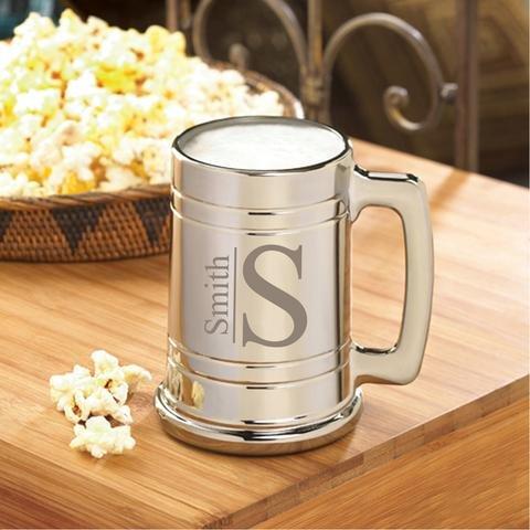 Monogrammed Gunmetal Beer Mug - Personalized Beer Mug - Engraved Groomsmen Beer Mug - Modern