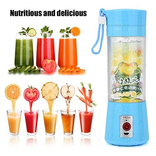 400ml Mini JuicerHongxin Portable USB Electric Fruit Juicer Smoothie Maker Blender Bottle Juice Shaker blue