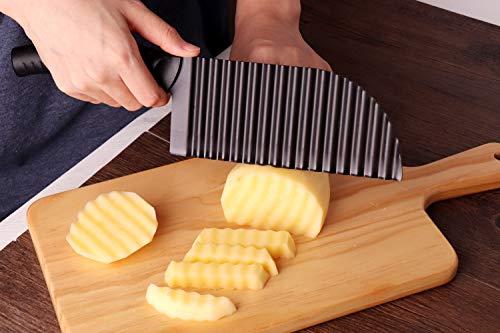 LALI Garnishing Knife French Fry Cutter Crinkle Potato Slicer Stainless Steel Potato Dough Waves Crinkle Cutter Slicer Home Kitchen Vegetable Chip Blade Cooking Tools Corrugated blade-Large size
