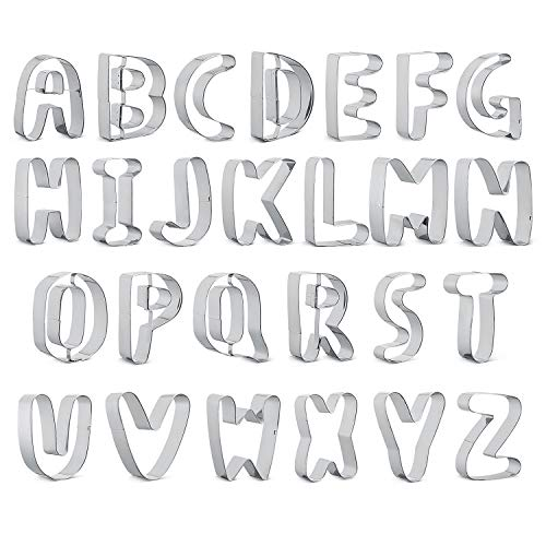 Pasutewel 3 Large Alphabet Letter Cookie Cutter Set Biscuit Mold 26pcs Graphics Cookie Cutter Shape Mold Set Jelly Fondant Sugar Large Letter A-Z