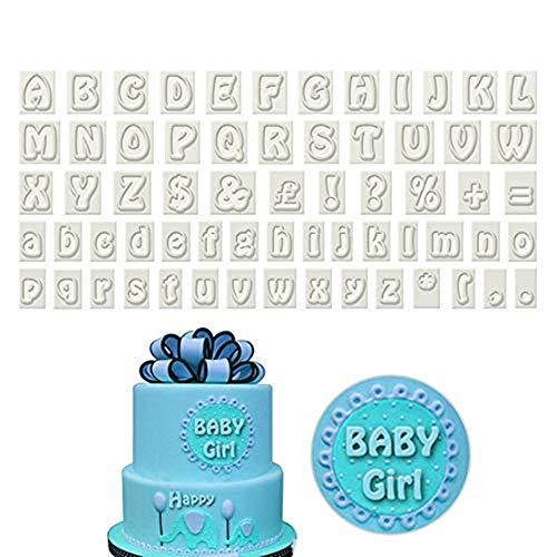 Youzpin 64 Piece Plastic Alphabet Cookie Cutter SetCake Decoration Fondant Cutters MoldUpper&Lower Case Art Deco Letter Punctuation Stamps