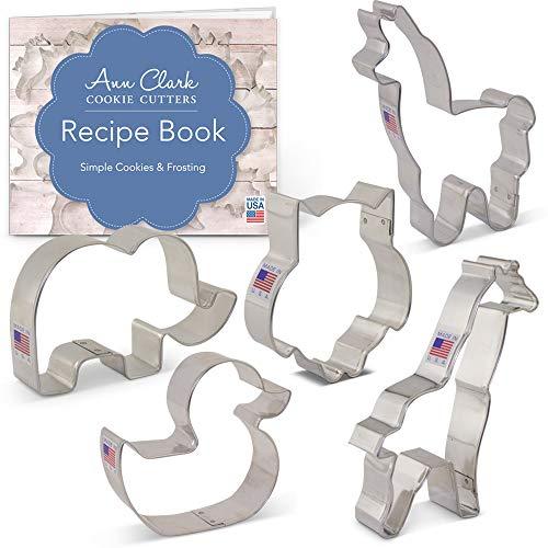 Ann Clark Cookie Cutters 5-Piece Baby Shower Animals Cookie Cutter Set with Recipe Booklet Cute Elephant Giraffe Llama Rubber Ducky