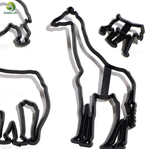 Laliva 8PCS Animal Cookie Cutter Plastic Elephant Lion Giraffe Leopard Fondant Cutter Safari Silhouette Cake Mold Cake Decorating Tools