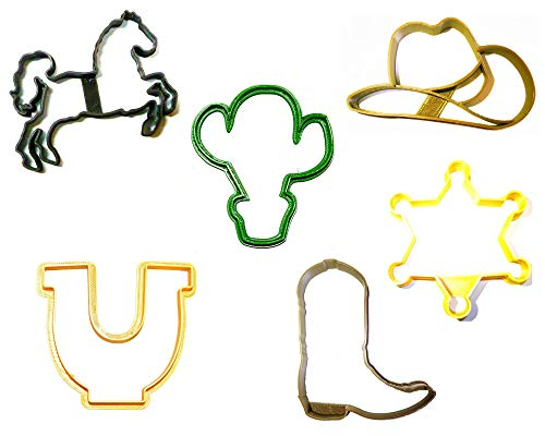 WILD WEST KIT HORSE SHOE CACTUS COWBOY HAT BOOT SHERIFF SET OF 6 SPECIAL OCCASION COOKIE CUTTERS BAKING TOOL 3D PRINTED MADE IN USA PR1105